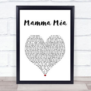 Mamma Mia White Heart Song Lyric Print