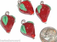 2pc Murano Glass Strawberry dangle pendant Lampwork fruit bead bracelet charm