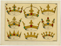 Antique Print-CROWN-GOLD-GEMSTONE-JEWELLERY-PLATE 36-Anonymous-c. 1890