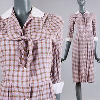 S Vintage 1930s Purple Plaid Dress Thin Cotton Day Glass Button Up Summer 30s