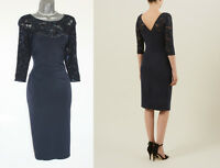 PLANET Navy Jersey Lace Embellished Side Pleat Detail Cocktail Dress UK 10 £99