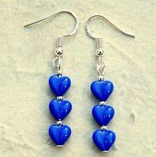 Blue Czech Glass Love Heart Earrings With Sterling Silver Hooks LB366