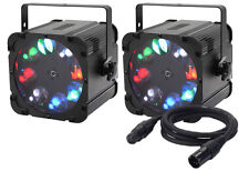 2 x Equinox Crossfire XP Gobo Projector 8 x 10W RGBW LEDs & DMX Cable Bundle