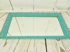 Ornate Metal Vanity Tray Mirror Blue Frame Size is 13 x 22.5 Inch Romantic Chic