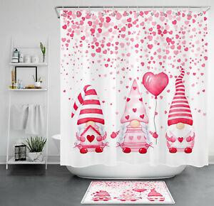 Valentine's Day Cute Gnomes Pink Heart Balloon Shower Curtain Set Bathroom Decor
