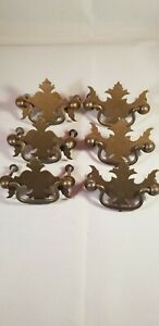 """[ 6 ] Vintage Drawer Pulls Colonial Chippendale Batwing Handles 3-1/8"""""""