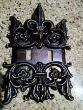 Metal Double Switch Plate Cover, Old World, Hand Made, Medieval Fleur de Lis Top