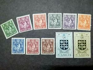 1948 St. Lucia King George VI Loose Set Up To 48c - 11v MH
