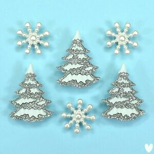 Buttons Galore White Christmas 4825 Tree Glitter Snow Snowflakes Dress It Up