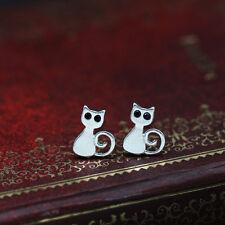 Women Cute Cat Kitten Drawing Earrings Hypoallergenic Ear Studs Jewelry lemon