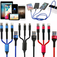 5 Pack Multi 3 in 1 USB Charger Charging Cable Cord Micro USB+iOS Port+Type C