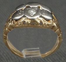 Two Tone Solid 14K Gold & Diamond, Heart Motif Engagement Ring Wedding Band Set