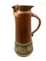 AMERICAN HANDMADE 20TH CENTURY STUDIO BROWN POTTERY PITCHER
