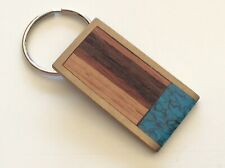 Vintage 1983 Sky West Inlaid Wood Turquoise Brass Key Ring Keychain *
