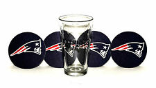 New England Patriots Pint glass and  4 coasters  NEW Ships next day!