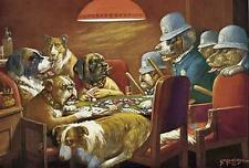 DOGS, POKER DOGS, PINCHED BY POLICE FOR CHEATING, BY COOLIDGE, MAGNET