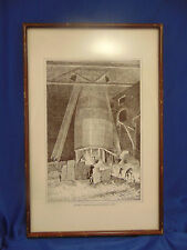 Framed sketch Bottom of a Blast Furnace 1871 JP Davis industrial art black white