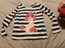 M&S Poodle Dog Top 3-4 Years Blue White Stripe marks and spencer