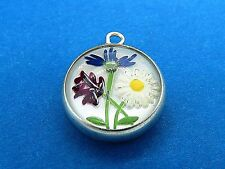 Vintage silver DAISY FLOWERS REVERSE CRYSTAL INTAGLIO ESSEX GLASS charm #M