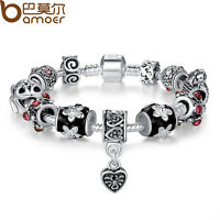 Bamoer Christmas European 925 Silver Charm DIY Bracelets With Black Murano Bead