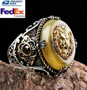 Turkish 925 Sterling Silver Yellow Amber Stone Lion Mens Mans Ring ALL SİZE USA