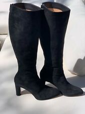 Walter Steiger Black Buttery Suede Knee High Boots - Made In Italy - 39