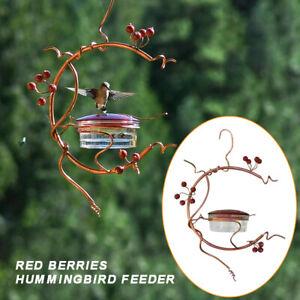 Garden Outdoor Courtyard Metal Hanging Style Hummingbird Bird Feeder Red Berries