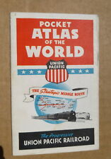 1940's Union Pacific Railway brochure Pocket Atlas of the World  map WWII