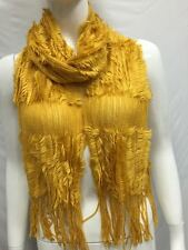 KNITTED WITH FUR WINTER SCARF THICK BULKY COLOR YELLOW