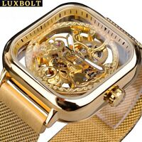 Flywheel Watch Men's Women Mechanical Movement Skeleton Manual Wrist watch Gold
