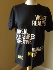 Pull & Bear Black T Shirt S Slogan Yellow White Violent Realites - Disorder