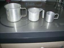 3 Anciennes mesures a lait ou a eau , en aluminium outil de la ferme SEB