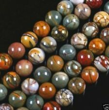 NATURAL 6MM MULTICOLOR PICASSO JASPER GEMSTONE ROUND BALL LOOSE BEAD STRAND 15""