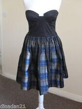 River Island dress, size 12, strapless, black/check skirt, brand new