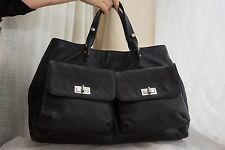 VERIFIED Authentic Chanel Black Caviar Leather Mademoiselle Lock Large Tote Bag