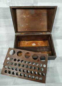 Antique Vintage Wooden Collectors Box Hinged Lid Storage Wood Chemist Industrial