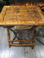 Vintage Tortoise Bamboo Rattan Folding Tray Table MCM