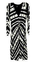 AFRM Womens Black White Tie Dye Faux Wrap Bodycon Long Sleeve Dress Size Small