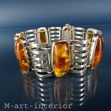 Art Déco Bernstein 835 Silber Armband Ostseeschmuck Amber Silver Bracelet
