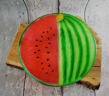 Glasplatte Melone rund rot grün DM 30cm Glasteller Servierplatte Obstplatte Deko