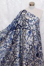 100% Charmeuse Silk Fabric Blue Tree M54 Per Yard