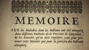 MALADIES DES ANIMAUX EN LANGUEDOC. 1732.