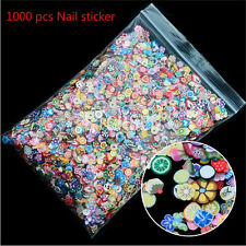 1000PCS 3D Fruit Animals Fimo Slice Clay DIY Nail Art Tip Sticker Decoration ab