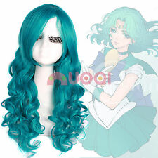 USA Ship Sailor Moon Neptune Kaiou Michiru Green Long Wavy Cosplay Full Wig