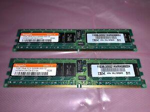 Hynix 1GB 1Rx4 PC2-3200R-333-12 RAM (x2) 2GB Matched Set.