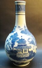 Fine Mid-19th C. Chinese Blue & White Porcelain Vase w/ Architecture    antique