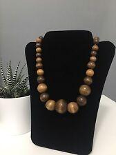 Wooden Graduated Bead Necklace Boho Style
