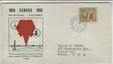Canada 1958 First Day Cover Centennial Of Canada'S Oil Industry Lamp & Refinery