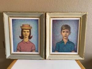 Charles R Untulis - 2 Portraits, Oil, Handmade Frames, Primitive, Pointillism