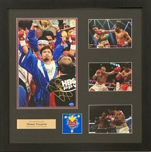 Manny Pacquiao Autograph Signed Photo 8x10 Boxing Collage Framed COA